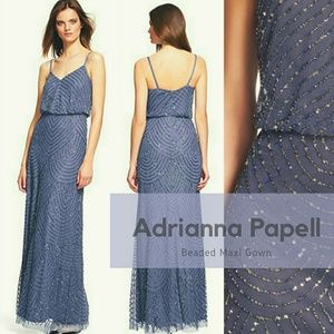 *Adrianna Papell Art Deco Blouson Beaded Dress*